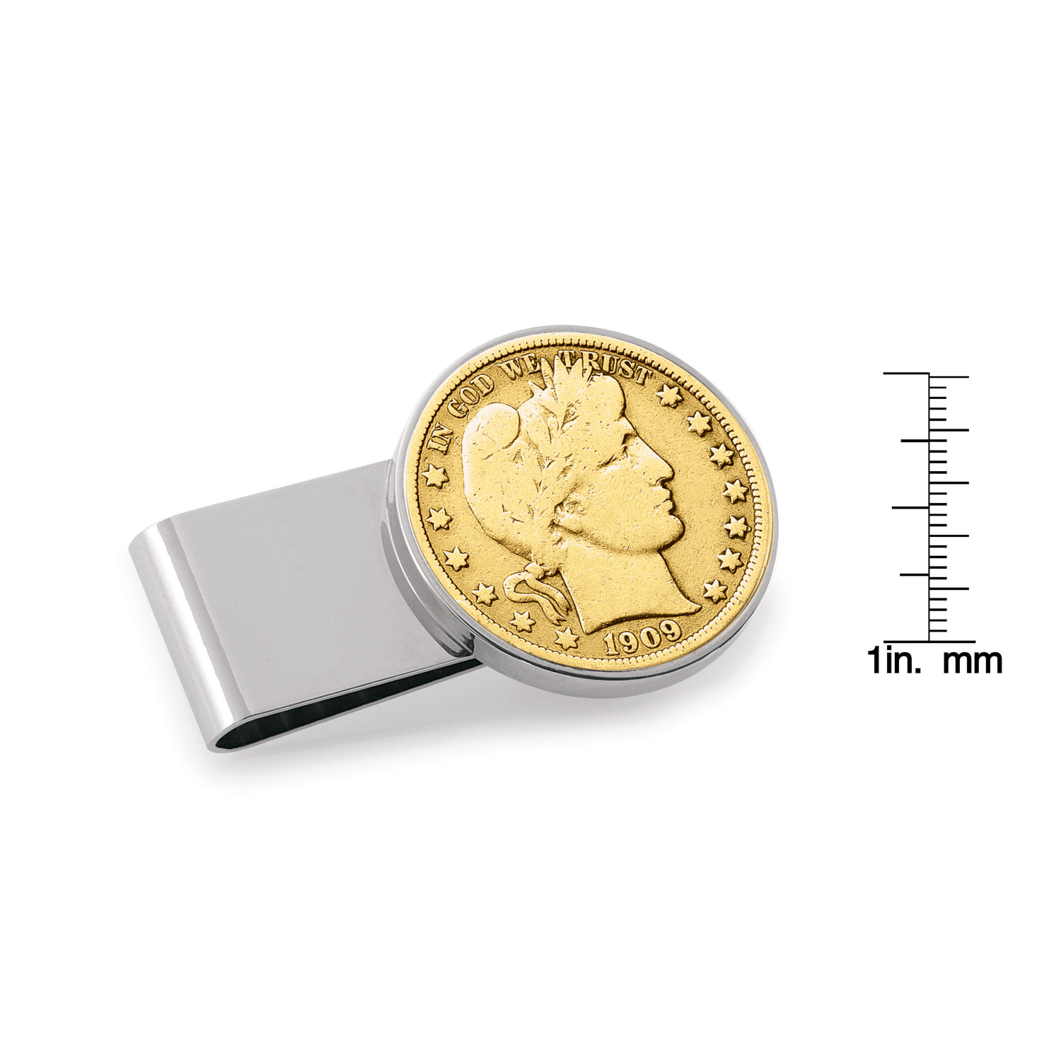 Gold-Layered Silver Barber Half Dollar Stainless Steel Silvertone Coin Money Clip