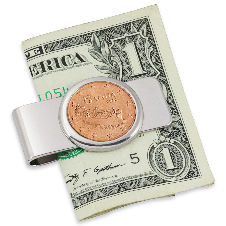 Greek Ship Five Cent Euro Coin Silver tone Coin Money Clip