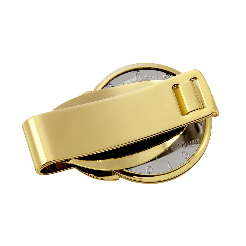 Gold-Layered Silver Barber Half Dollar Gold Tone Coin Money Clip