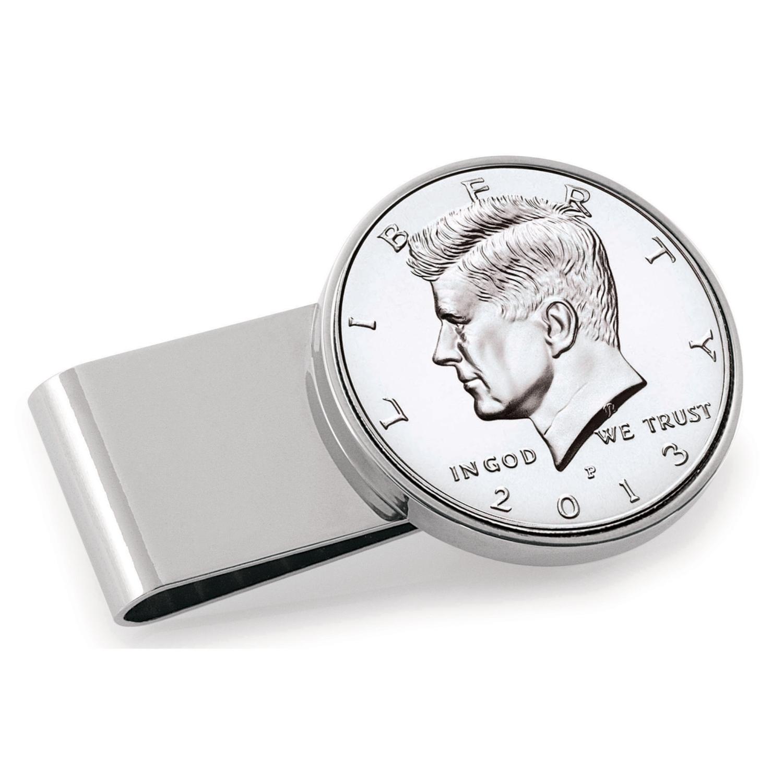 Jfk Half Dollar Stainless Steel Silvertone Coin Money Clip