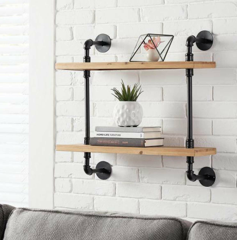Black Two Tier Industrial Pipe Shelf
