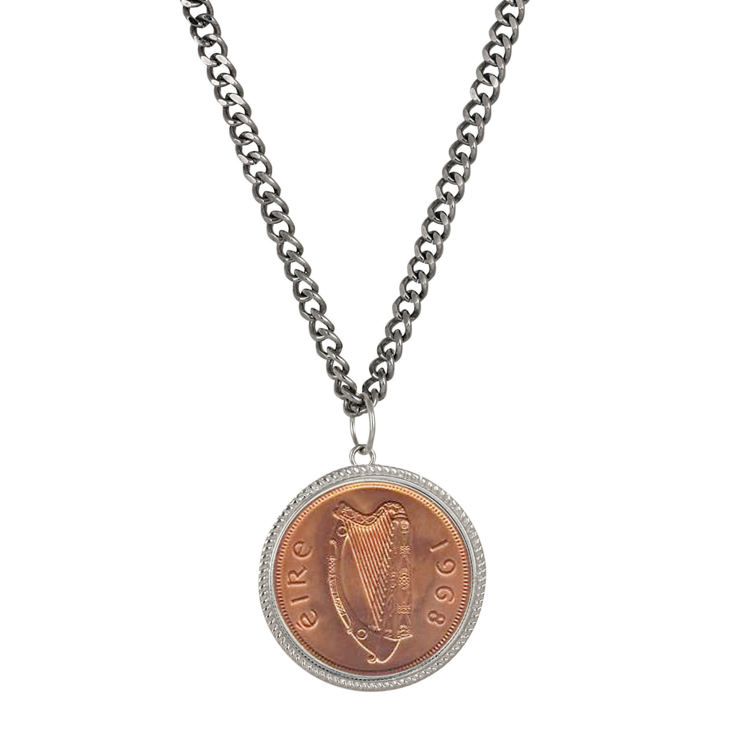 Large Irish Penny Pendant With Curb Chain