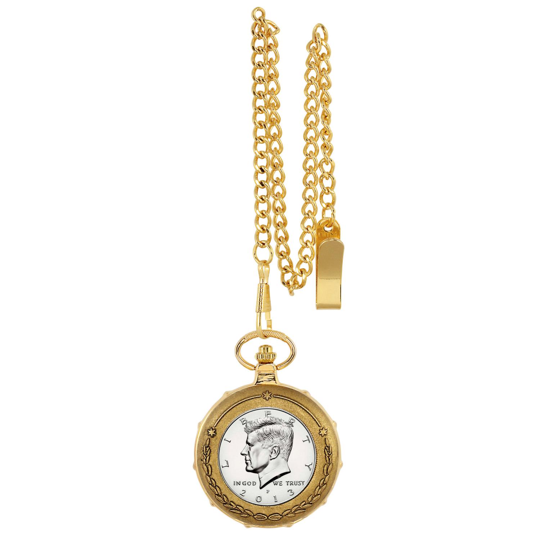 Proof Jfk Half Dollar Goldtone Train Coin Pocket Watch With Skeleton Movement